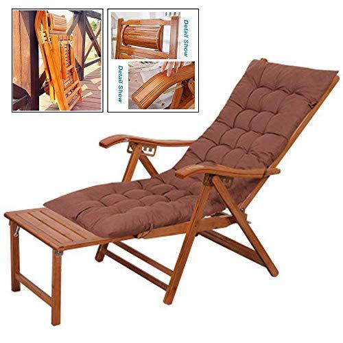 Sedia a sdraio, sedia a dondolo pieghevole da giardino in bambù con cuscino, sedia a sdraio regolabile sdraio sedia a sdraio pieghevole per spiaggia, piscina, terrazza con balcone, supporto 240 kg