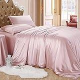 Reliable Bedding Silk Satin Sheets Set | Silk Satin Sheets Set Twin XL | Twin XL Sheets Set Rose Pink | Silk Fitted Sheet 18 Inch Deep Pocket | 4 Pc Sheet Set | Silk Flat Sheet & Pillowcases Set