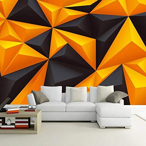 3d Tapete Dreiecksgeometrie in Schwarzgold Fototapete Vlies Wand Tapete Wandbilder 450x300 cm -9 Stück Tapete Wohnzimmer Schlafzimmer Kinderzimmer Dekoration Moderne Wanddeko