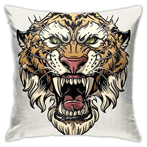 iksrgfvb Pillowcases Cushion Covers decoration Bark Vector Illustration Head Ferocious Tiger On A White Background on the Sofa car bed 45X45 CM