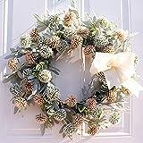 Takefuns - Corona artificial de flores de margarita blanca y amarilla de 50 cm para puerta...