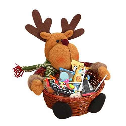 Paymenow Christmas Candy Basket Bag Santa Pants Gift Portable Candy Gift Baskets Wrap for Wedding Christmas Festival Home Decoration (C)
