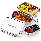 ecolinda®️ Premium Edelstahl Brotdose für Kinder [900ml] mit 3 Fächern & GRATIS Snackbox. Plastikfreie mehrlagige Lunchbox. Nachhaltige Frischhaltedose BPA-frei. Bento Box inkl. Trennwand.