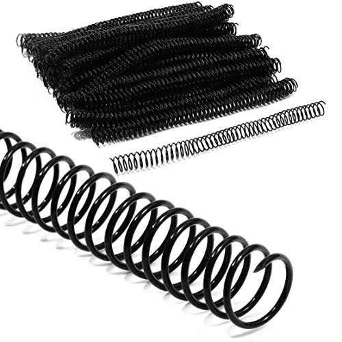 Black Spiral Binding Coils, Plastic Coil Spines for 130 Sheets (16mm, 100 Pack)