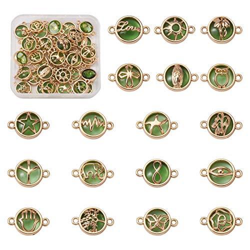 Cheriswelry - 36 piezas, planas y redondas, en forma de estrella, de cristal, eslabones de cristal, búho, mariposa, elefante, árbol de la vida, conectores de joyería para hacer pulseras de bricolaje