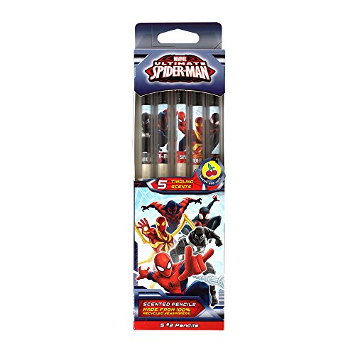 Marvel Spider-Man Smencils (5-Pack Scented Pencils - Made from Recycled Newspapers)