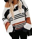 KIRUNDO Women's Strip Color Block Short Sweater Long Sleeves Stitching Color Round Neck Loose Pullovers Jumper Tops (Medium, 1977-Orange)