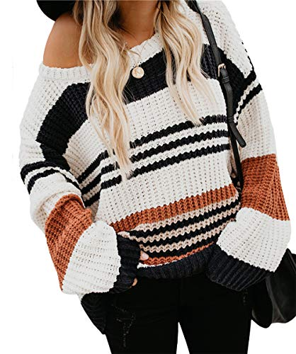 KIRUNDO Women's Strip Color Block Short Sweater Long Sleeves Stitching Color Round Neck Loose Pullovers Jumper Tops (Small, 1977-Orange)