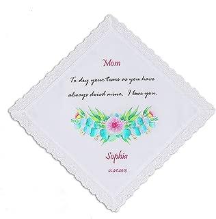 Personalized Mother of the Bride the Groom Handkerchief, Wedding Keepsake Token
