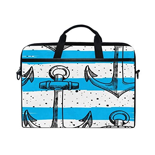 HaJie Laptop Bag Geometric Stripes Sea Marine Anchor Computer Case 14-14.5 in Protective Bag Travel Briefcase with Shoulder Strap for Men Women Boy Girls