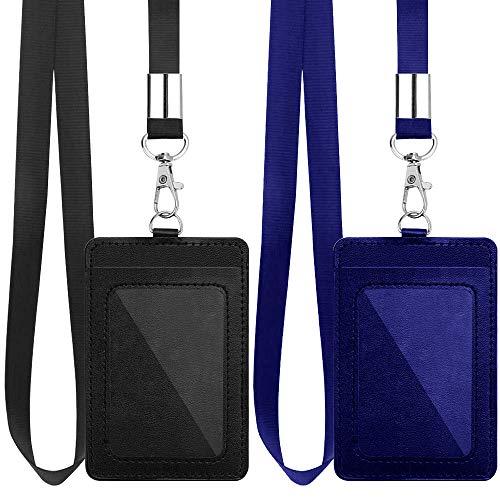 Lot de 2 porte-badges verticaux en cuir synthétique avec cordon en nylon détachable de 45,7cm pour bureau, école, permis de conduire (noir, bleu)