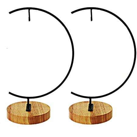 Awesomes Terrarium Ornament Display Stand Metal Stand Air Plant Stand Flower Pot Stand Holder Iron Pothook Stand for Hanging Glass Terrarium Globe Ball Wood 2 Pack