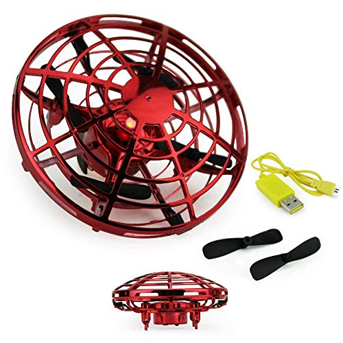 Boley Mini Drone UFO Flying Aircraft Toy, Red - Small Drones Perfect for Indoor, Outdoor Play - Cool Hand Controlled Drone for Kids and Adults - Rechargeable Batteries and Extra Propellers Included