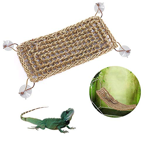 Evenlyao Reptile Mat Natural Grass Fibers Hammock Bed Seagrass Reptile Hammock Handmade Grass Straw Braided Hammock Pets Accessories Products For Anoles Bearded Dragons Geckos Iguanas