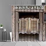 XCBN Cortinas de Ducha Impermeables de Puerta de Madera Antigua, decoración de baño Retro, Juego de Cortinas Colgantes,...