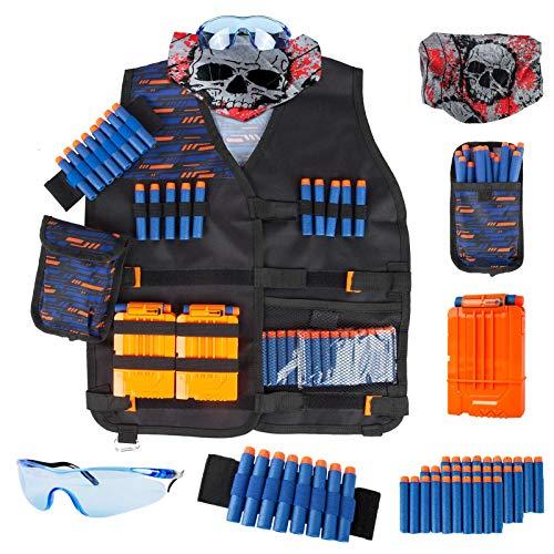 Little Valentine Kinder Taktische Weste Kit für Nerf Guns N-Strike Elite Serie mit Nachfüll-Darts, Dart Tasche, Armband, Face Tube Maske, Quick Reload Clips und Schutzbrille für Jungen