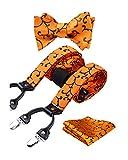 HISDERN Hosenträger für Herren breit Fliege Einstecktuch Set elastisch und längenverstellbar in verschiedenen Designs