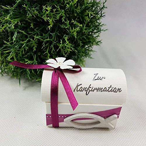 Geschenkverpackung TRUHE Taufe Kommunion/Konfirmation/Firmung/Taufe PINK