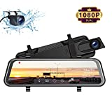 TOGUARD Mirror Dash Cam, Upgraded 10' Dual 1080P FHD Car Camera Dash Cam Front and Rear with Waterproof Backup Camera, IPS Full Touch Screen Video Streaming Rear View Mirror Camera Parking Assistance