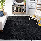 Safavieh Leather Shag Collection LSG601A Hand-Knotted Modern Leather Area Rug, 5' x 8', Black