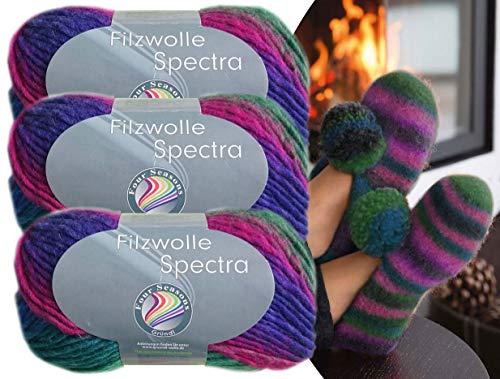 Gründl 3x100 Gramm Filzwolle Spectra aus 100% Schurwolle, (Sparset 08 Pink Türkis Blau) inkl. Strickanleitung für Filzhausschuhe + 3 Strasssteine zum aufnähen