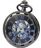 sewor orologio da tasca a mano con quadrante meccanico a vento (nero blu)