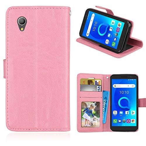 LMFULM® Hülle für Alcatel 1 5033D (5,0 Zoll) PU Leder Magnet Brieftasche Lederhülle Handyhülle Stent-Funktion Ledertasche Flip Cover für Alcatel 1 Einfaches Rosa