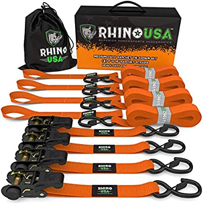 """RHINO USA Ratchet Tie Down Straps (4PK) - 1,823lb Guaranteed Max Break Strength, Includes (4) Premium 1"""" x 15' Rachet Tie Downs with Padded Handles. Best for Moving, Securing Cargo (ORANGE) from Rhino USA"""