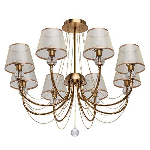 MW-Light 684011608 Kronleuchter Elegante Lüster Metallgestell Satin Gold Lampenschirme Organza Beige Acryl Transparent 8 Flammig x 40W E14 220V