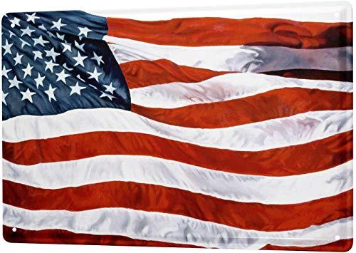 SECOFE World Trip American Flag 20,3 x 30,4 cm, diseño vintage de metal colorido para decoración de pared para cafetería, bar, restaurante y pub signo