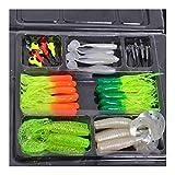 Caja Tackle 35pcs Suaves cebos de Pesca Gusano 10 Plomo Jig Head Ganchos de simulación señuelos Tackle Set Herramientas Caja de Pesca Impermeable (Color : As Shown)