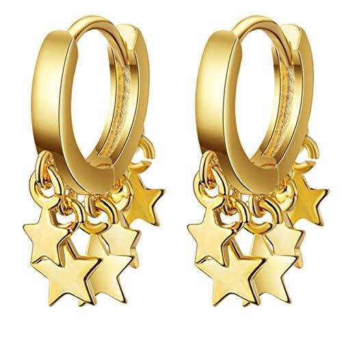 Ruby569y Pendientes colgantes para mujeres y niñas, pendientes de estrella de moda para mujer, pendientes de fiesta, club, joyería de regalo - amarillo
