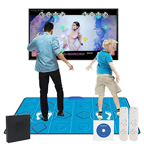 Dance Mat Game– HDMI Wireless Double user Video Game Dance Pad for Kids Adults Multi-Function Dance mat Games for TV Plug and Play,Built-in Game Console for PC TV (11MM PU, 2 Controller English)