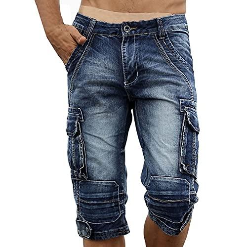 YUZHUKUNGMZNSDK Pantalones Cortos Hombre, Casual Men's Carga Denim Shorts Retro Vintage Lavado Slim Fit Jean Shorts Mulit-Pockets Biker Shorts para Hombres (Color : Light Blue, Size : 38)
