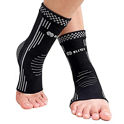 BLITZU Plantar Fasciitis Compression Ankle Sleeves For Women & Men - Best Ankle Brace and Nano Socks For Everyday Use. Provides Foot & Arch Support. Heel Pain, & Achilles Tendonitis Relief. BLACK L