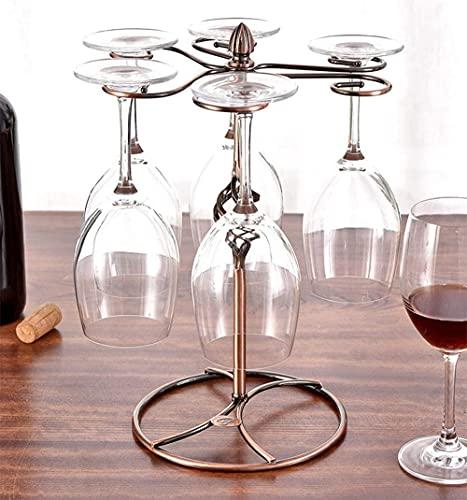 Estante para botellas de vino, estilo europeo, estante de almacenamiento de vino, con soporte para 6 copas