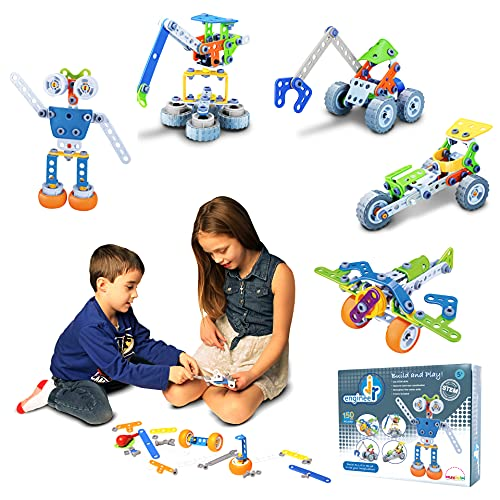 Jr Engineer - Robot & Airplane | 150 Pcs Build and Play Construction STEM Toy Set. 5-in-1 Building Blocks & Learning Toys Kit for Kids Ages 5 6 7 8 9 10. Educational Creative Toys for Boys & Girls