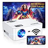 Mini WiFi Projector, Full HD 1080P Enhanced Outdoor Wireless Video Movie Projector, 300' Display & Zoom Phone Projector for Home Theater, Compatible with TV Stick iOS Android PC PS4 HDMI USB