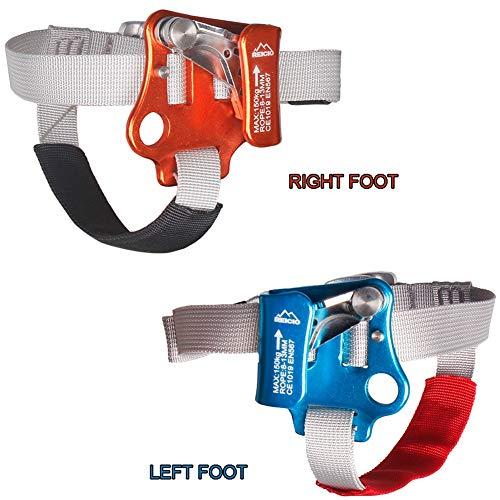 DFGENLY Fuß Ascender, Tragbar Kletter Seilgreifer für Linker/Rechter Fuß Einstellbar Kletterausrüstung Klettern, Expedition, Höhlenforschung für 8-13mm SeilSet