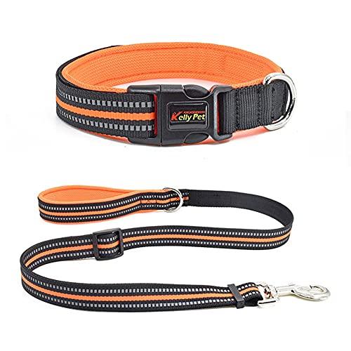 Collar de nailon para animales domésticos, ajustable, con hebilla de metal resistente y cuerda para animales domésticos, apto para animales de tamaño pequeño y mediano (naranja, L)