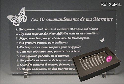 Les 10 commandements de MARRAINE - Papillon texte Loin de moi - Cadeau Baptême & Communion