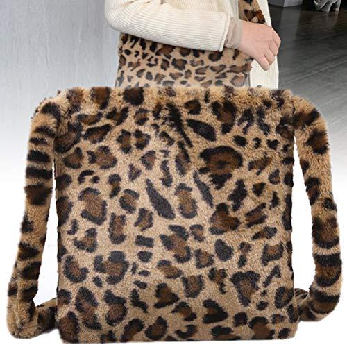 Smosyo Sac en peluche léopard élégant avec grande capacité - Sac à dos en peluche pour le shopping, les voyages, les vacances, les pique-niques.