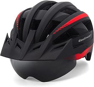 EASTINEAR Casco Bicicleta con Luz LED Recargable Casco Bicicleta Montaña Gafas Magnéticas para Adulto Casco de Ciclismo Ta...