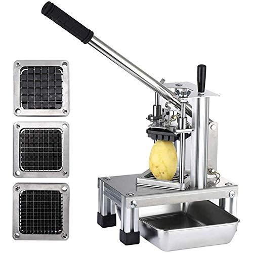 KKTECT Astilladora de Patatas Comercial Cortadora de Frutas Vegetales con 3 Cuchillas de Acero Inoxidable-1/4 1/2' 3/8'Cortador de Patatas Fritas