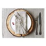 4 Tovagliette lino - tovagliette americane lino - tovagliette colazione - tovagliette americane stoffa - tovagliette americane tessuto - tovagliette sottopiatto - naturale marrone