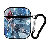 Erza Scarlet with Weapon AirPods Case Anime Fairy Tail AirPods 1&2 Case Cover Hard Protective Anime Case Cover with Keychain Compatible with Apple AirPods for Girls Boys Women Men Black-style1