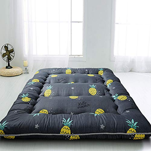 MAXYOYO Grey Pineapple Japanese Floor Futon Mattress, Tatami Floor Mat Portable Camping Mattress Kids Sleeping Pad Foldable Roll Up Floor Lounger Couch Bed Twin Size with Mattress Protector Cover