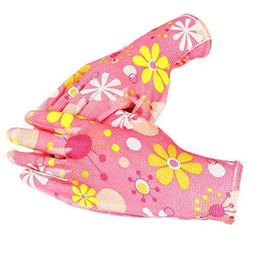Zhhlinyuan Floral Pattern Garden Working Gloves - Gardening Digging Planting Plant Flower Pruning Protective Gloves for Women Men