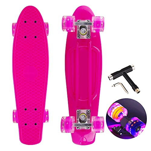22 Zoll Skateboard Mini Cruiser Retro Board Komplettboard für Anfänger Kinder Jugendliche und Erwachsene, 57x16cm Komplett Board mit ABEC-7 Kugellager, LED PU Leuchtrollen, T-Tool (rosa)