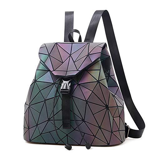 Nevenka Laptop Rucksack Geometrisch für Damen Holographisch Outdoor Rucksack Mädchen mit Verstellbare Schultergurte für Schule Camping Wandern Reisen Sport Fitnessstudio (leuchtend 1)